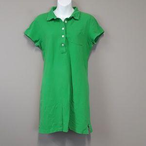 J.Crew Kelly Green Half Button Shirt Dress Size L